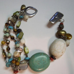B1992 Retired Silpada Multi-Stone, Brass Bracelet